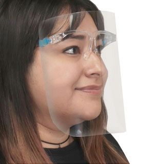Face Shield with Eyeglass Frames