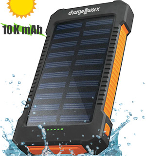 10,000mAh Solar-Powered Charge Bank with LED Flashlight