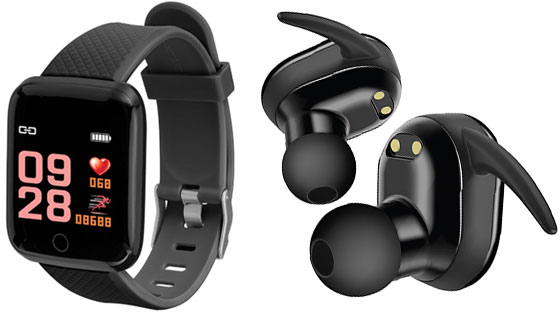 Fitness Tracker Smart Watch and True Wireless Earbuds Set by Slide