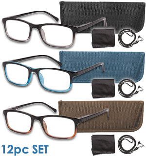 12pc Reading Glasses and Accessory Kit