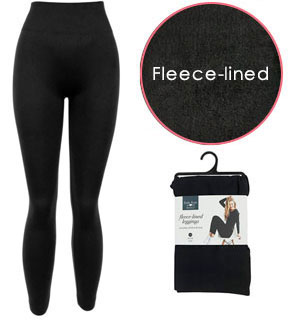 Black Fleece-lined Leggings for a Warm Cozy Slimming Fit