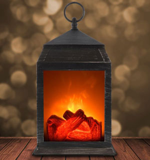 LED Simulated Wood Burning Fireplace Lantern
