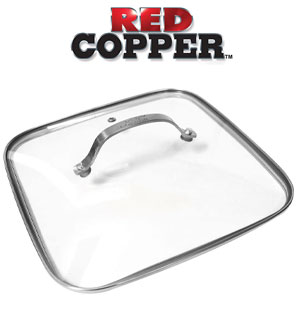 Red Copper Square Dance Lid - 9.5 inch