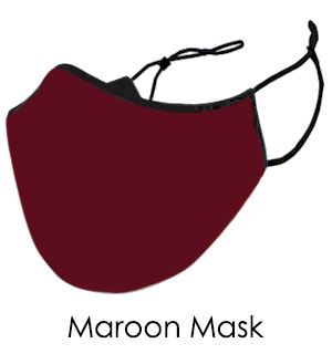 Maroon Cotton Face Mask - Reusable W/ Filter Pocket