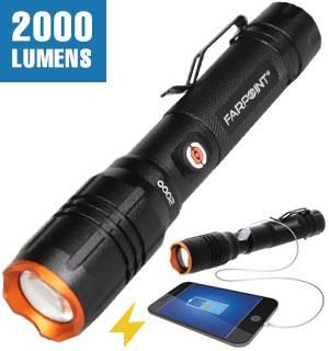 Platinum Series 2000 Lumen Rechargeable Flashlight by Farpoint