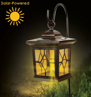Outdoor LED Solar Lantern Flickering Candle Light