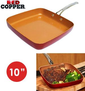 Square 10 Red Copper Pan Pulsetv